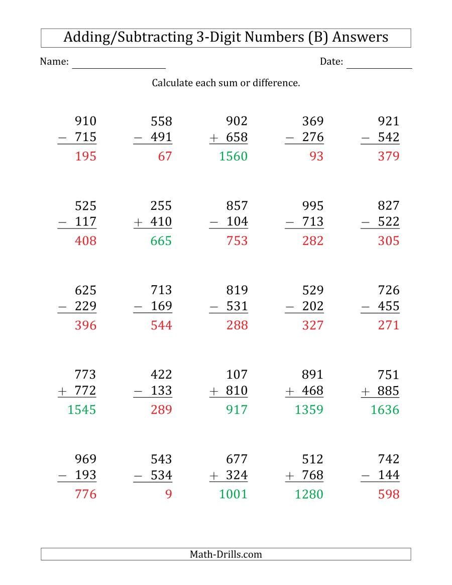 The 3 Digit Plus Minus 3 Digit Addition And Subtraction With Some Regrouping B Math Worksheet Pag Subtraction Worksheets Addition And Subtraction Subtraction