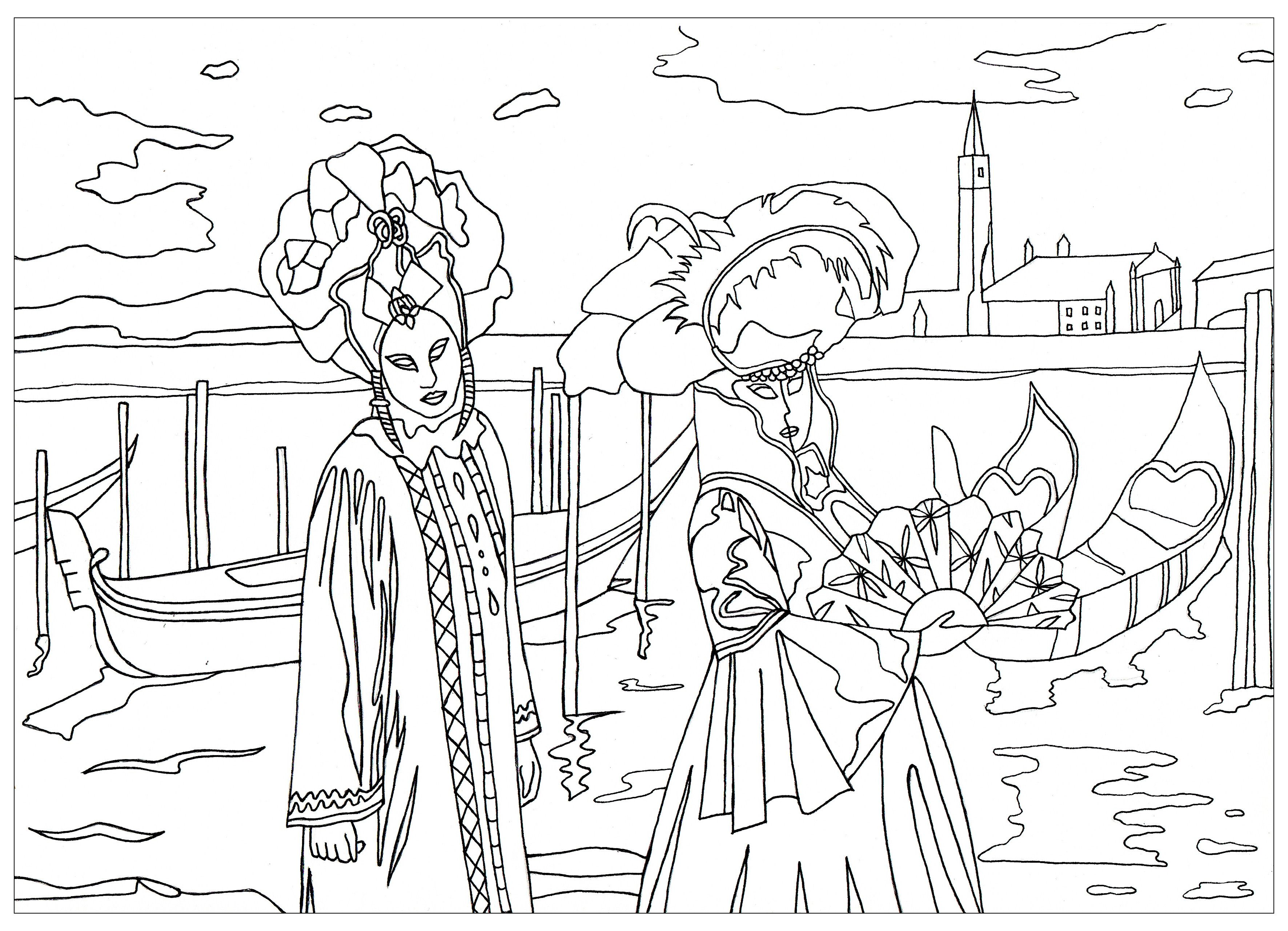 Free coloring page coloring venice carnival by marion Venice Carnival