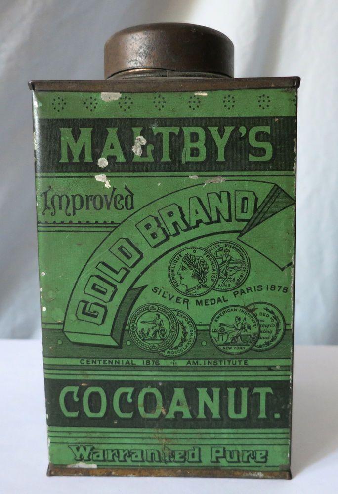 ANTIQUE MALTBY'S GOLD BRAND COCOANUT TIN  #MALTBYS
