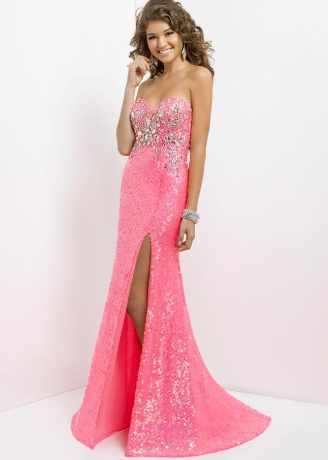 Stunning Barbie Pink Blush 9796 Strapless Long Beaded Prom Dress ...