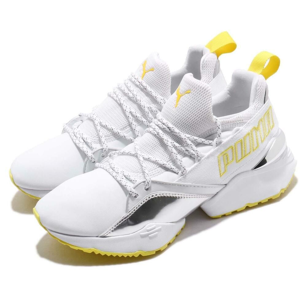 premium selection bf1be f73bb Puma Muse Maia TZ Metallic Wns White Blazing Yellow Women Running Shoe  369492-01