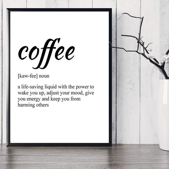 Coffee Definition Print, Printable Art, Coffee Lovers Gift