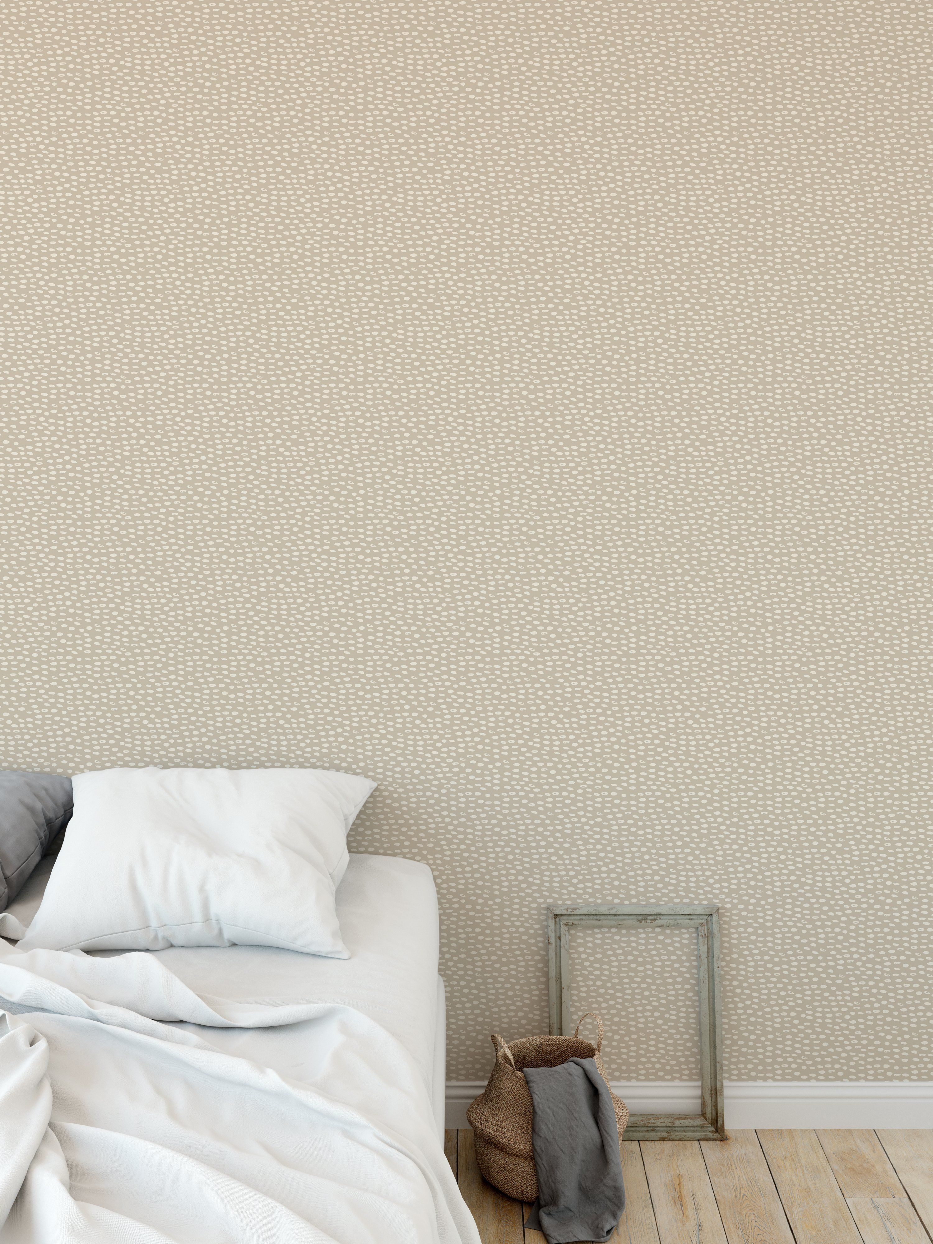 POLKA DOT ABSTRACT BEIGE Peel and Stick Wallpaper By Kavka Designs - 2ft x 16ft