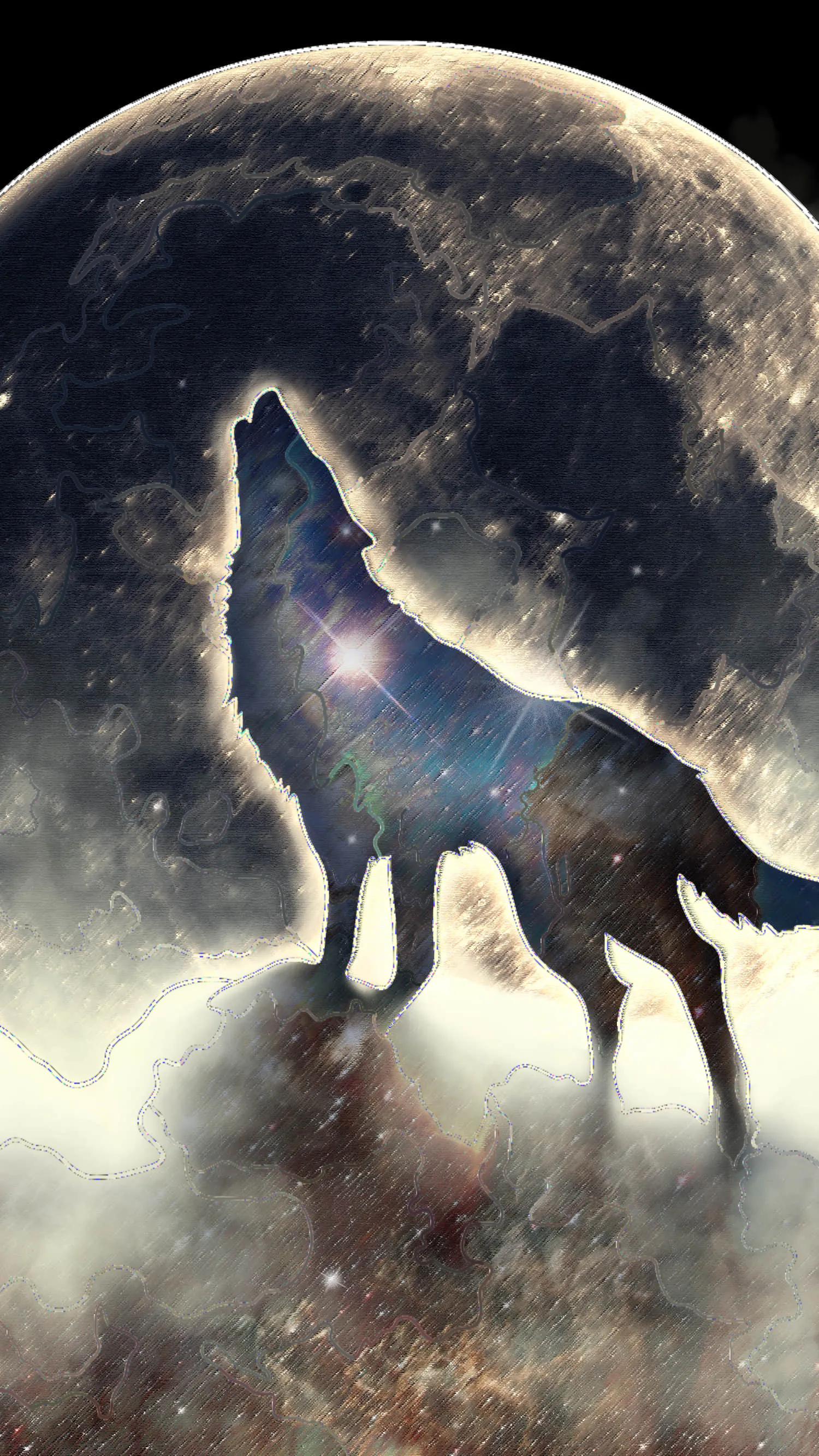 loup fond d ecran lune loup garou