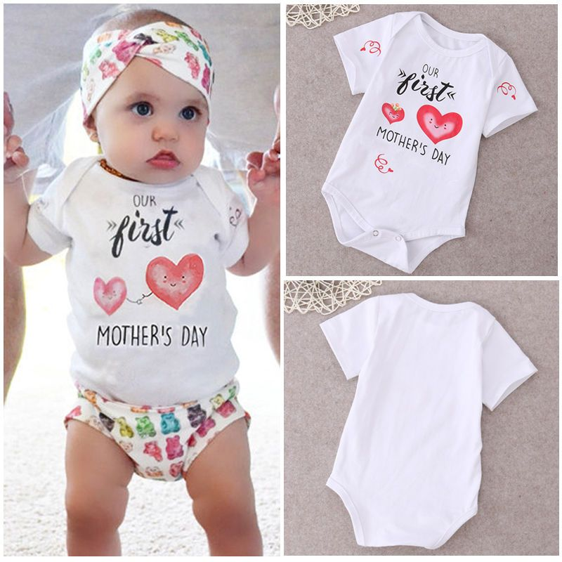 US Cotton Newborn Infant Kids Boy Girl Romper Bodysuit Jumpsuit Clothes Outfit