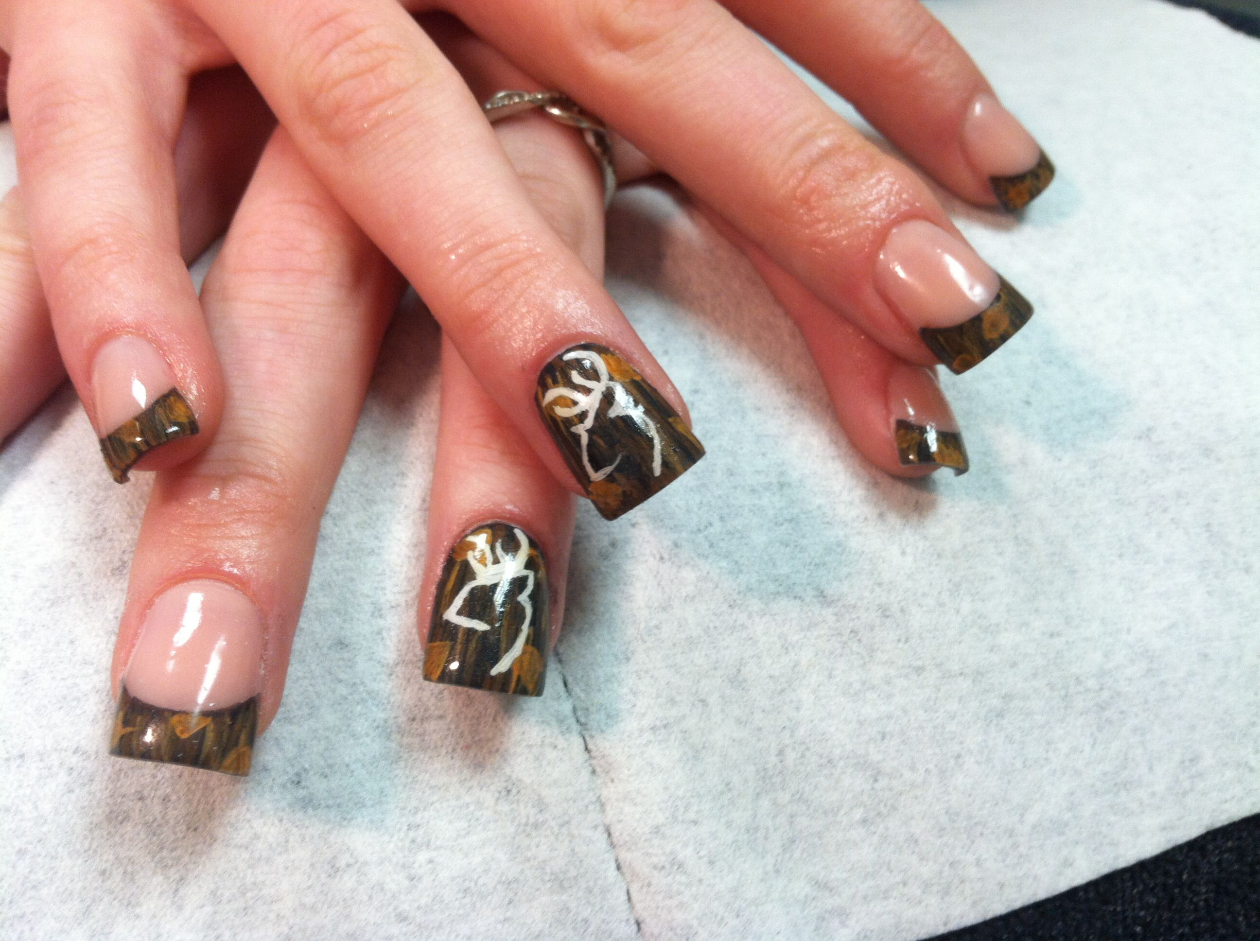 Mossy oak camouflage acrylic nails. Hand painted. | My acrylic nails ...