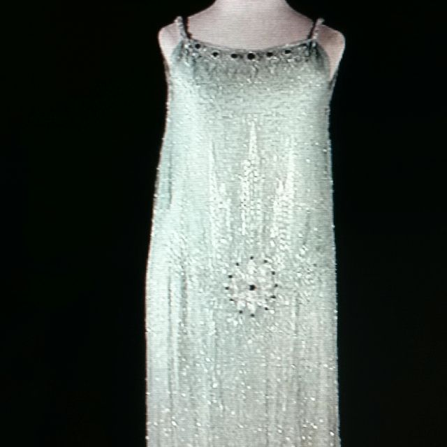 Pale mint green silk chiffon gown heavily beaded with pearl and jet bugle beads. Worthy of Daisy Buchanan.