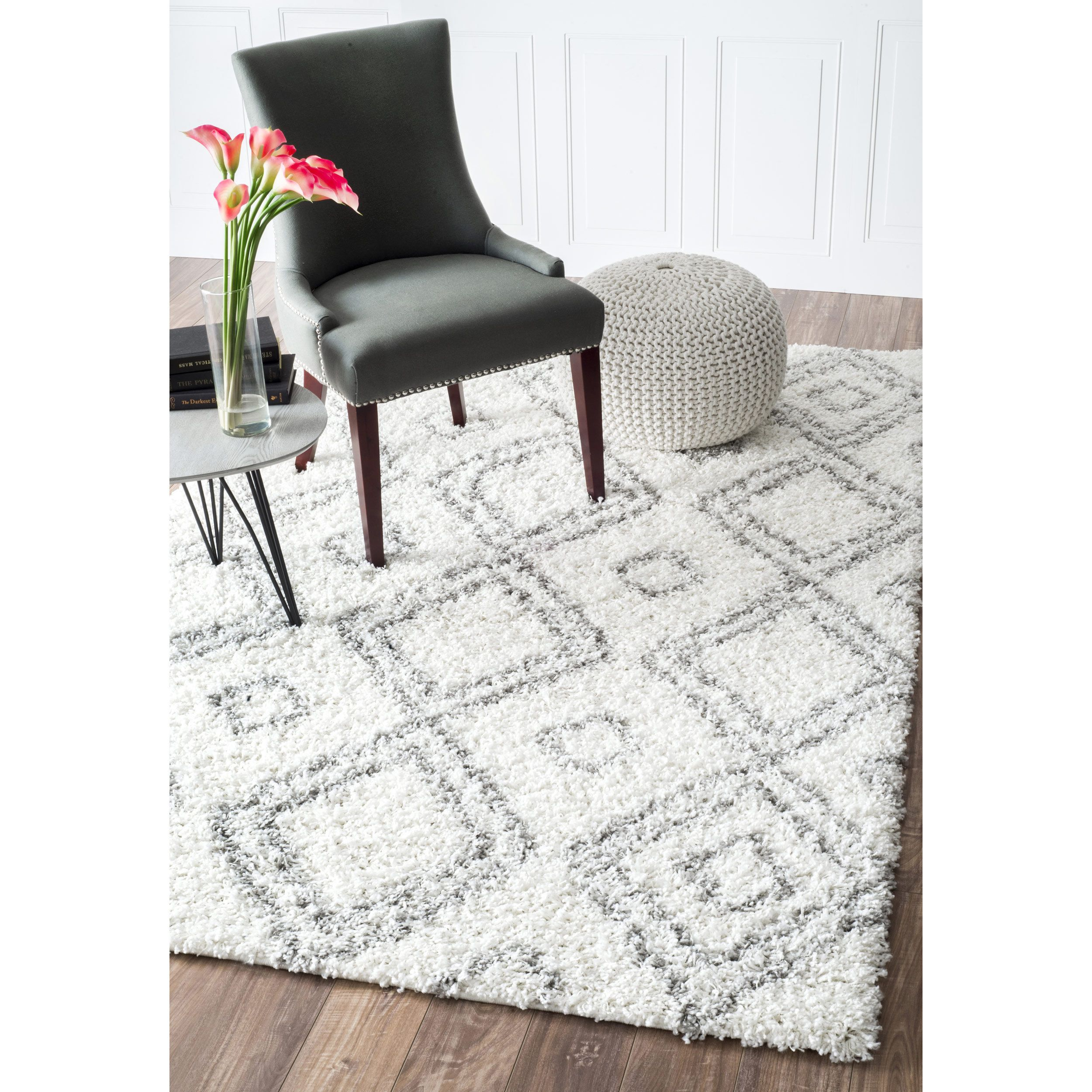 Inspired by Moroccan Berber carpets this trellis shag rug adds