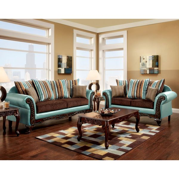 Furniture Of America Destane 2 Piece Teal Transitional Sofa Set    Overstock™ Shopping   Great Deals On Furniture Of America Sofas U0026 Loveseats