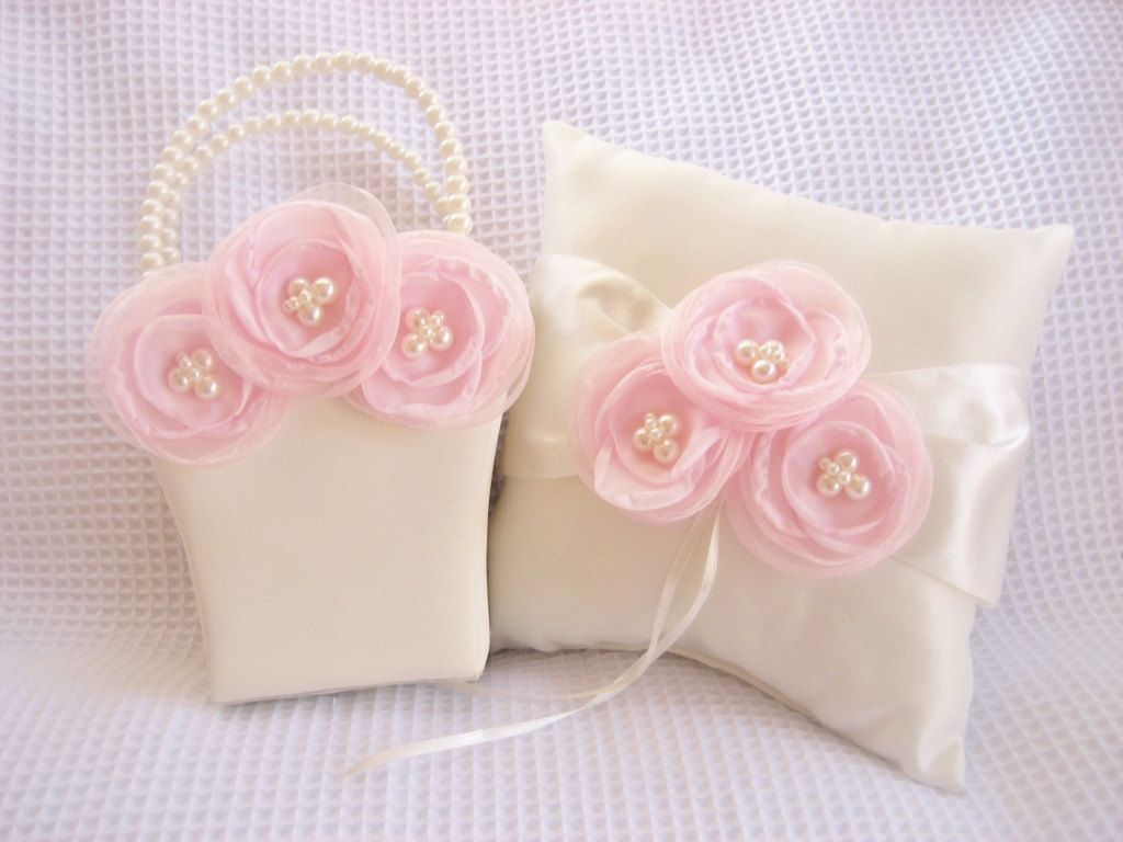 Ivory Cream Flower Girl Basket and Pillow Singed Chiffon Flowers ...