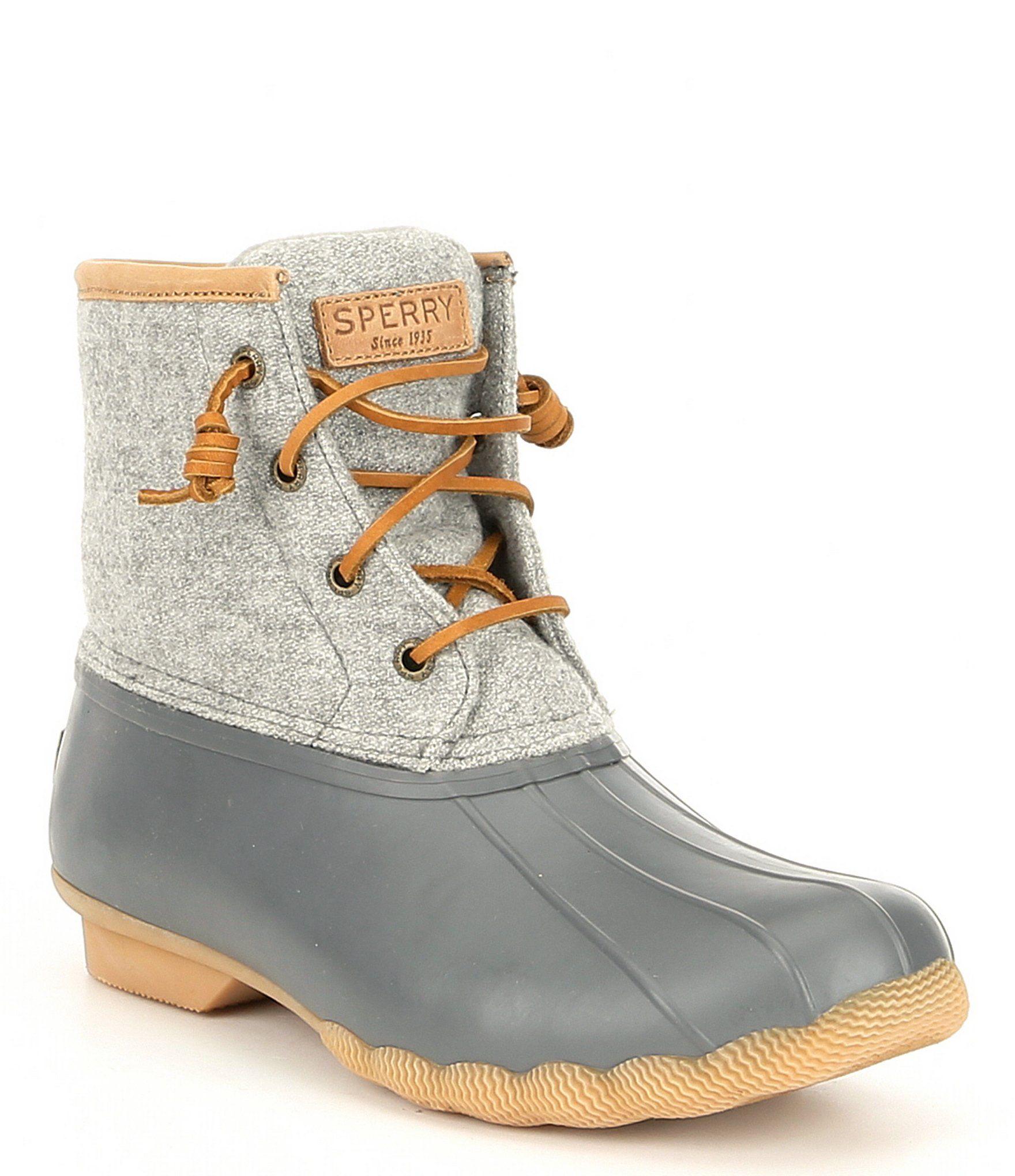 Sperry Saltwater Emboss Wool Duck Rain Boots Dillards Cute Winter Boots Sperry Duck Boots Outfit Boots