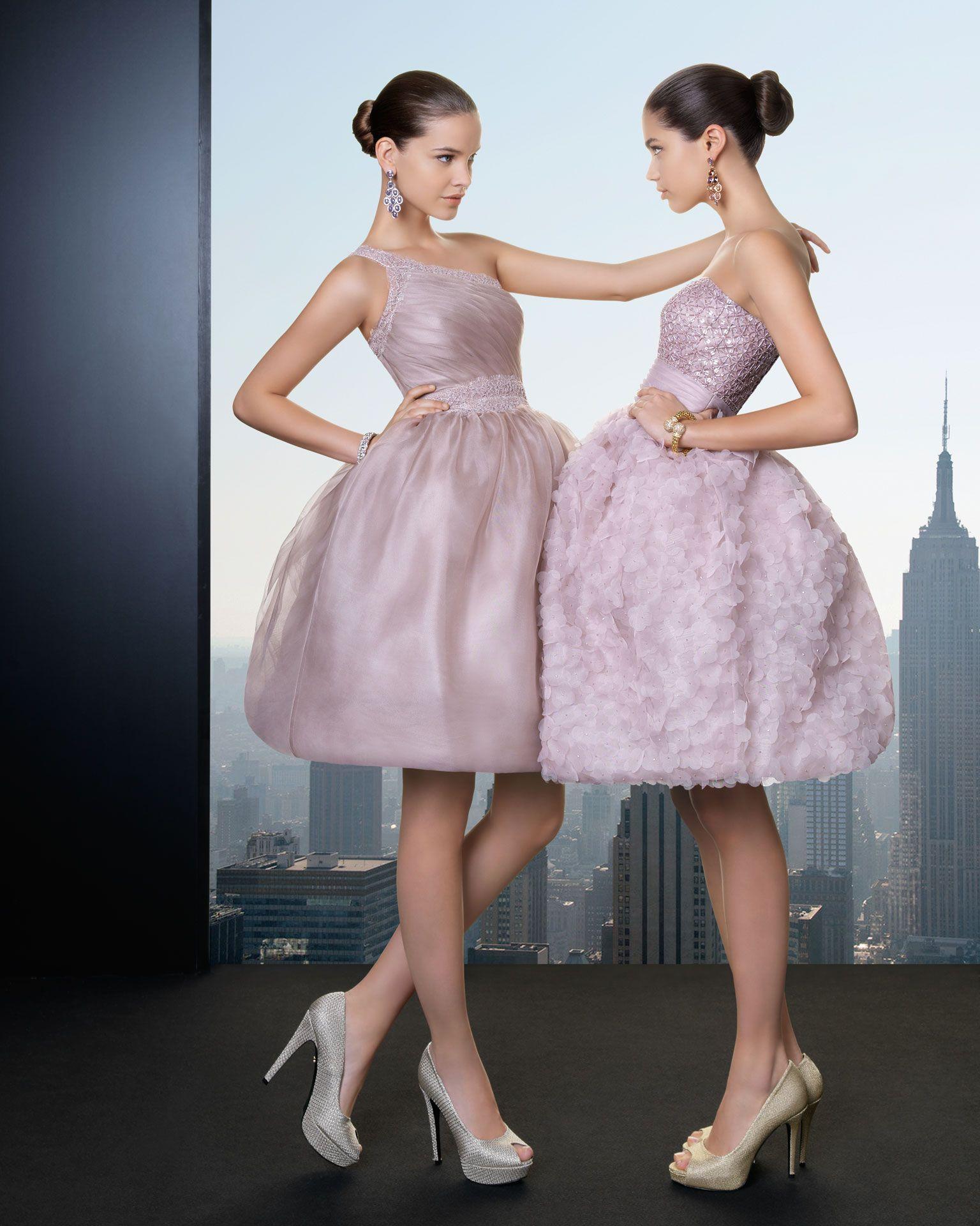 Vestido corto rosa palo rosa clara