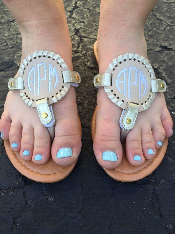 Monogrammed Flip Flops // Sandals Monogram // by AmyGraceMonograms