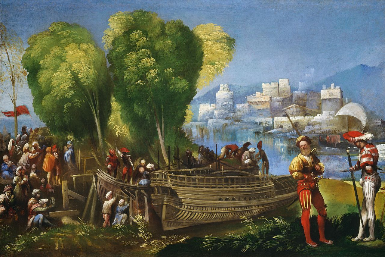 Book I Aeneas shelters here with seven ships-/ all he can muster, all the storm has left. [They arrive on the Libyan coast. Aeneas and Achates in foreground. ~ Dosso Dossi
