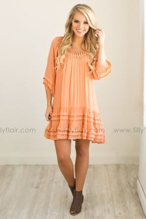 Hope For Spring Dress in Apricot