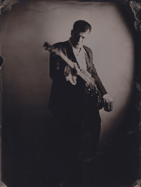 Daniel Jeanrenaud, rock and roll musician, tintype portrait made with wetplate collodion process.