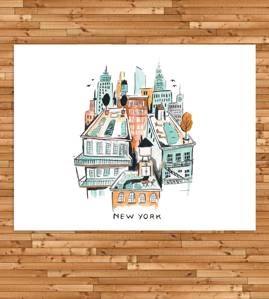 New York Rooftop Art Print | Illustrated by hand, this New York art print details the view ... | Posters