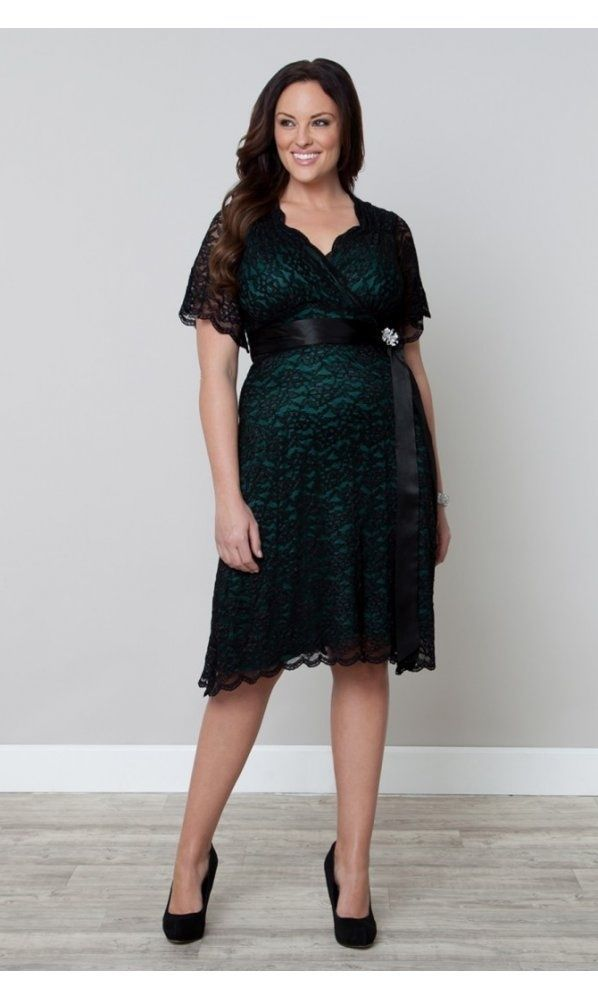 95c193b54d2f5 Looking for that perfect party cocktail dress to look fabulous  Oh course  you are and here it is in green with black lace from Plus Size fashion line  ...