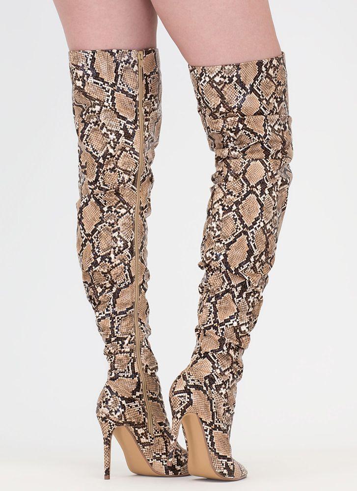 ca368086ed50 No Slouch Snake Print Thigh-High Boots BROWN SNAKE - GoJane.com ...