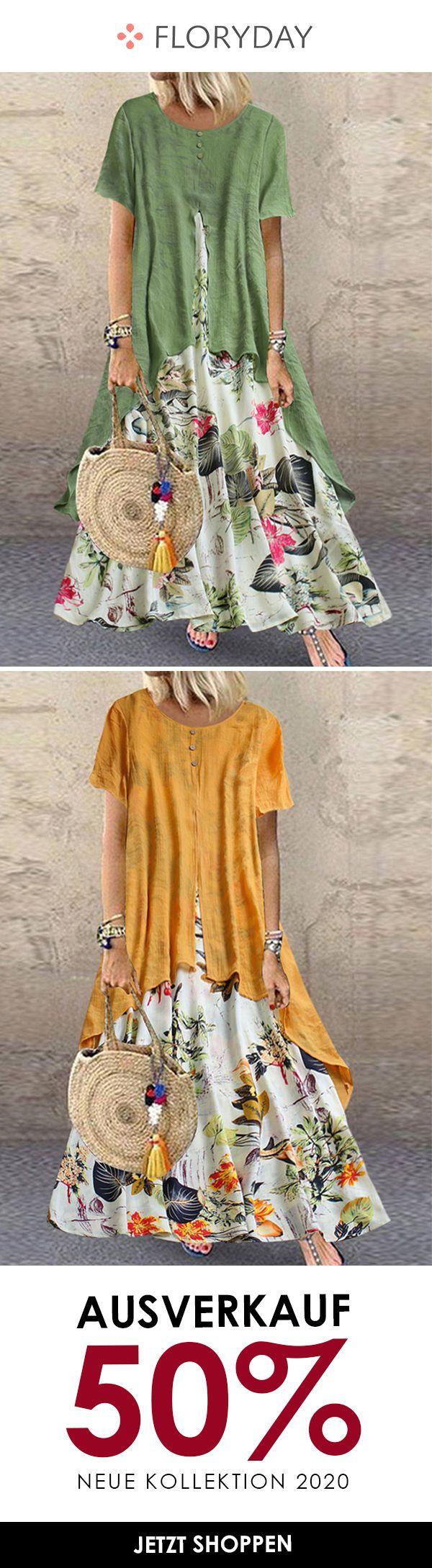 Kleid in A-Linie mit Blumentaschen und Rundhals in 18