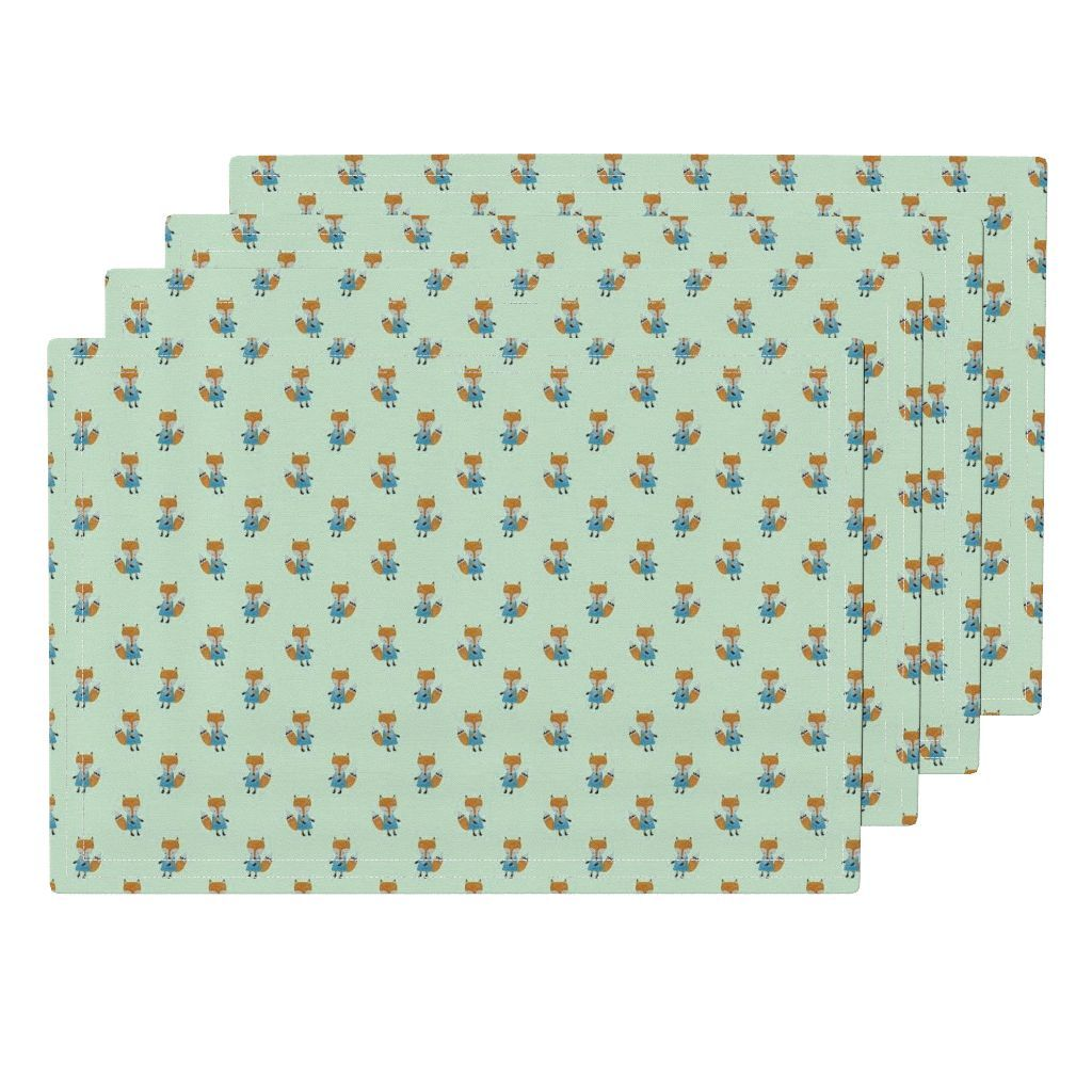Fox Forest Friends All Over Repeat Pattern On Mint Green Cloth Placemats Set Of 4 Placemats Table Mats Https Repeating Patterns Forest Friends Placemats