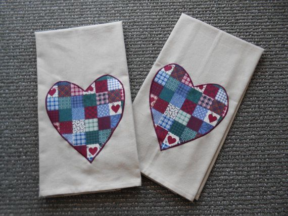 Applique hand towels set of two towels country farm rustic