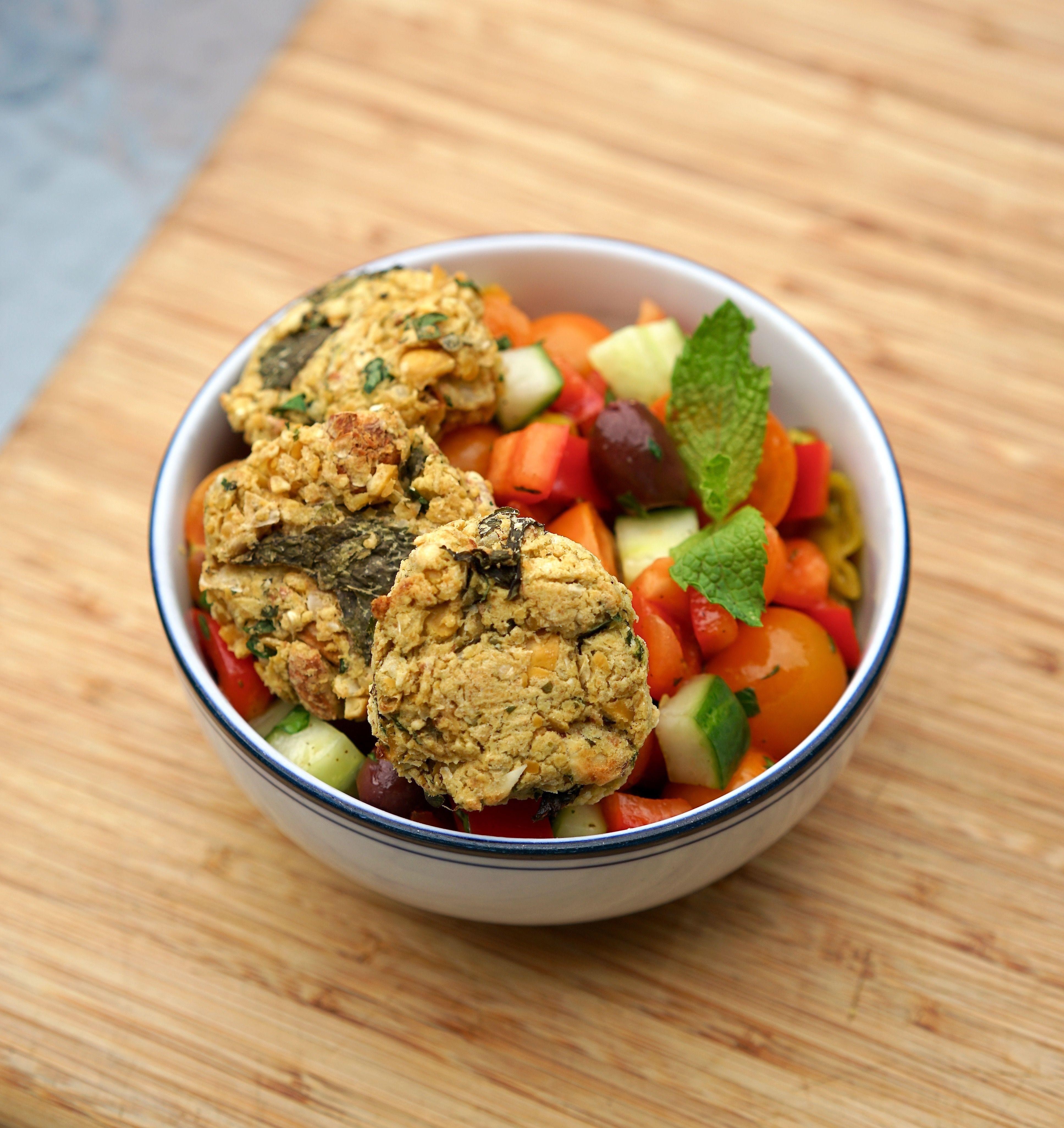 Easy Baked Falafel with Fresh Greek Salad Recipe Greek