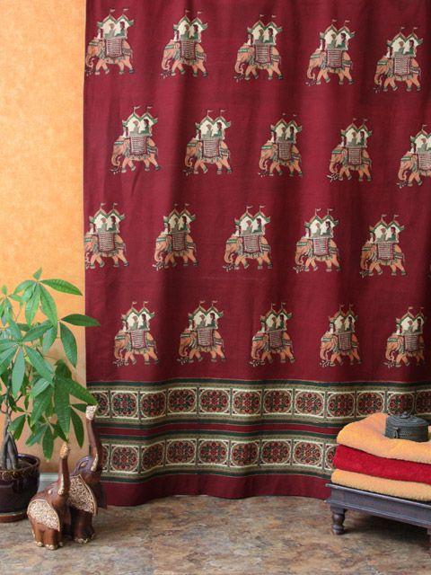Burgundy Shower Curtain Elephant Royal Exotic India