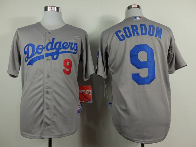 mlb los angeles dodgers 9 dee gordon grey jersey
