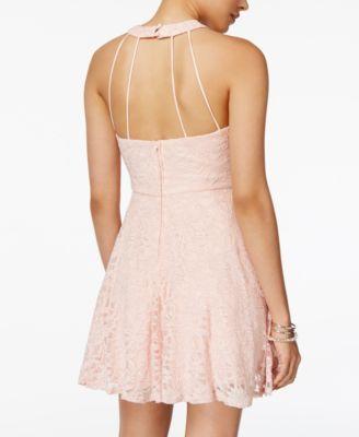 B Darlin Juniors' Glitter Lace Fit & Flare Dress - Silver 7