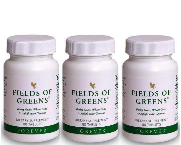 "Fields of Greens      Forever Living Products provides a simple solution to ""convenience eating"" in Fields of Greens®. One glance at its ingredient list reveals a cornucopia of green foods for your body.   Get the antioxidants and chlorophyll you may be lacking. Fields of Greens combines young barley grass, wheat grass, alfalfa and added cayenne pepper (to help maintain healthy circulation and digestion). We have also added honey to promote energy."