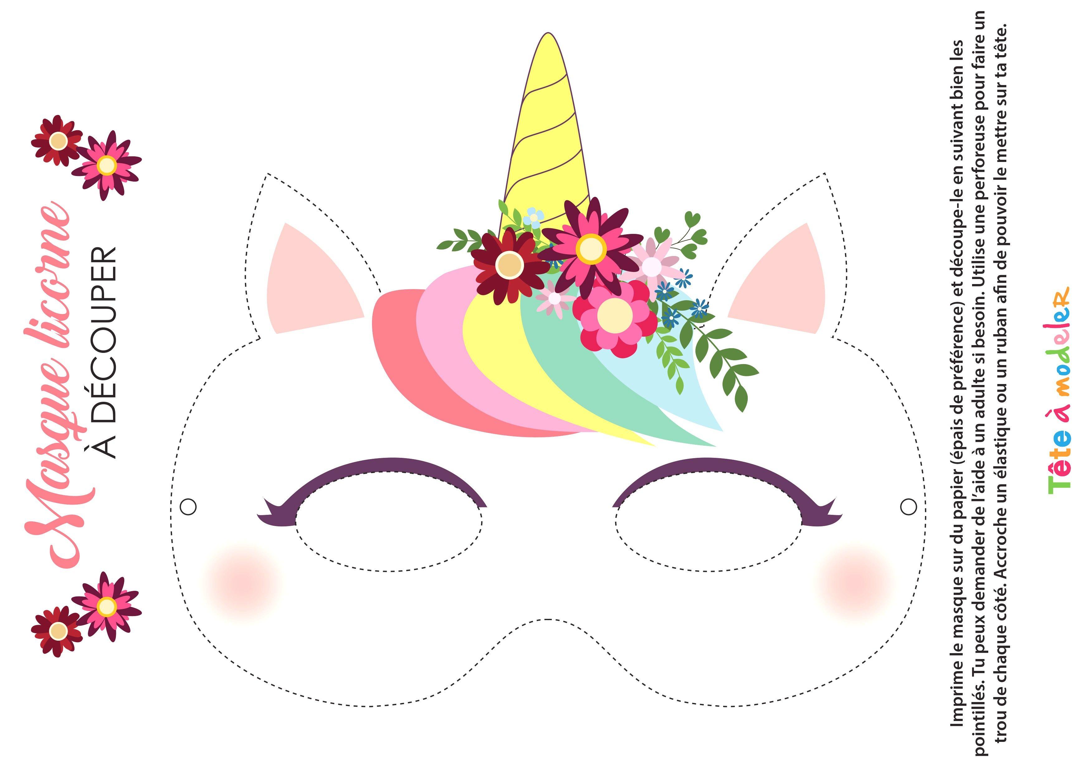 Masque De Licorne Imprimer Avec Masque De Licorne A Imprimer Et