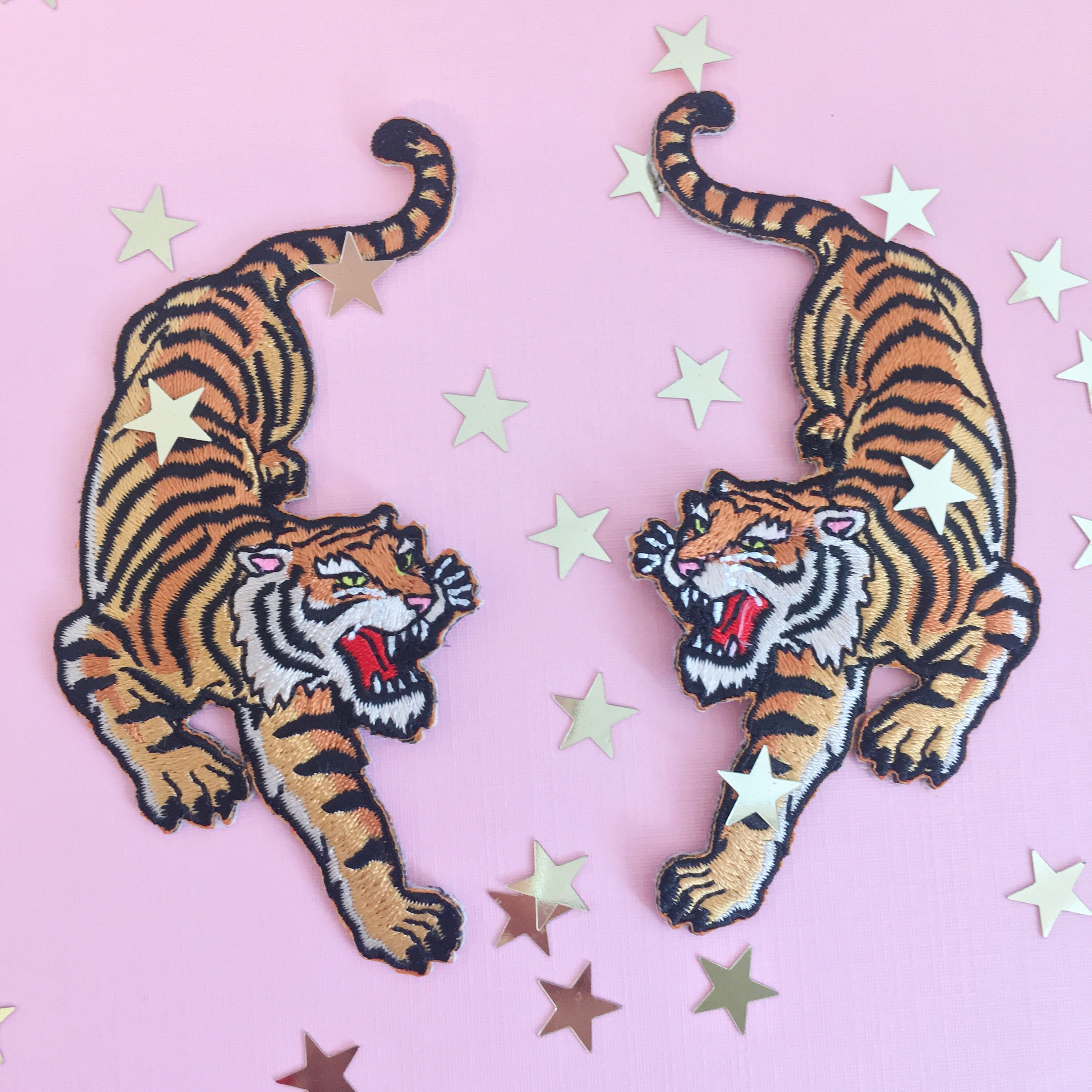 Tiger Patch Iron On Embroidered Patches Climbing Tigers ...