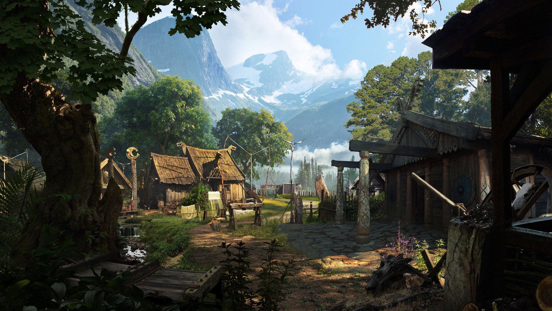 Artstation Viking Village Matte Painting Mahesh Naidu Viking Village Fantasy Landscape Fantasy Town