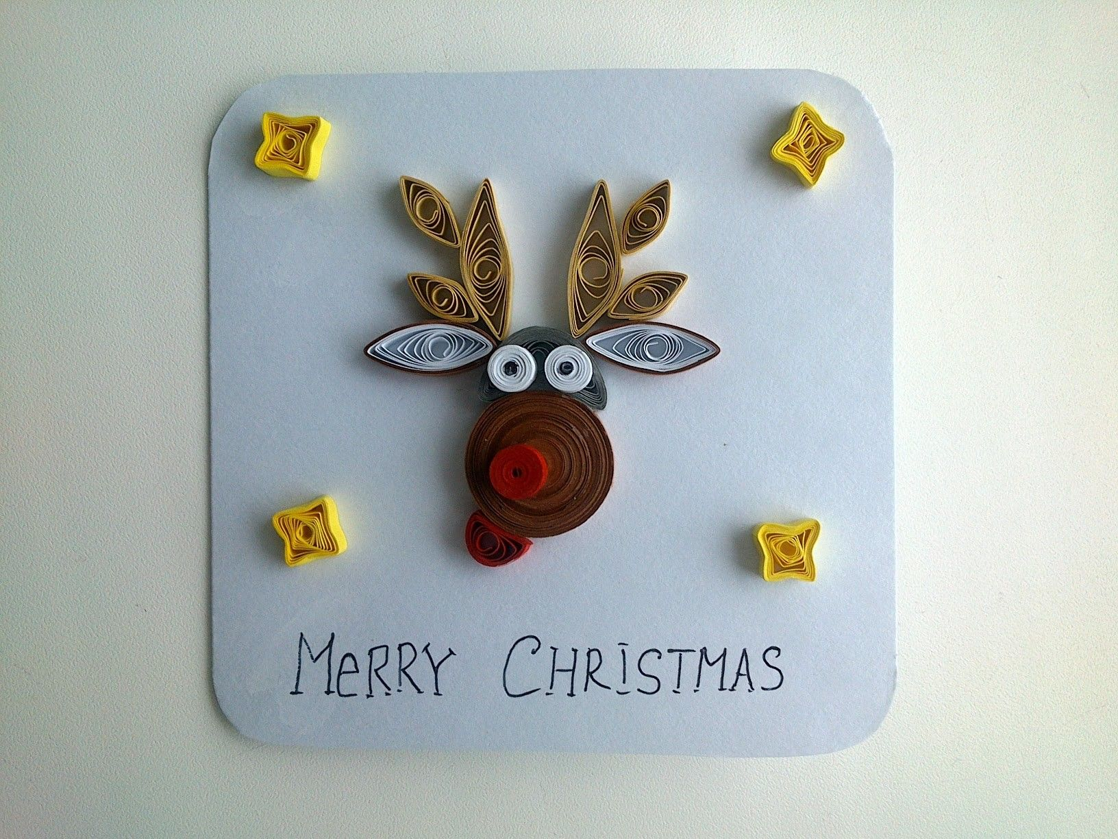 Quilling cards: make funny Quilling Christmas card.