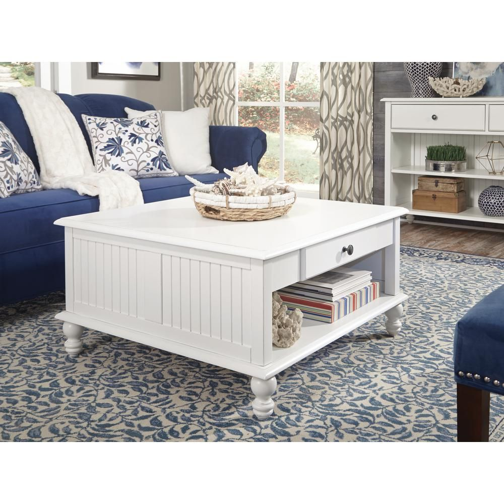 Cottage Beach White Square Coffee Table Bright Rubbed