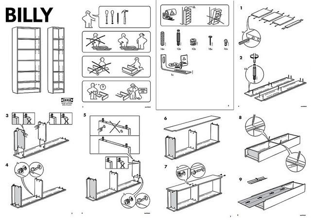 TEACH /// The Ikea manual for Billy Bookcase teaches the viewer how to  construct