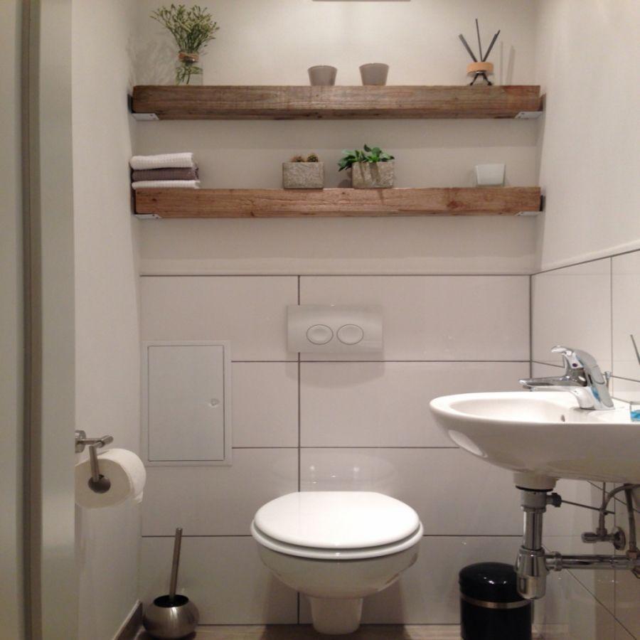 Modern Trifft Rustikal Holz Balken Regal Gste Wc Home Sweet für