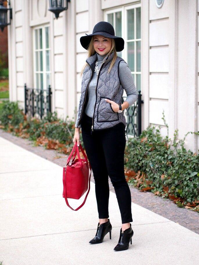Black grey tweed vest