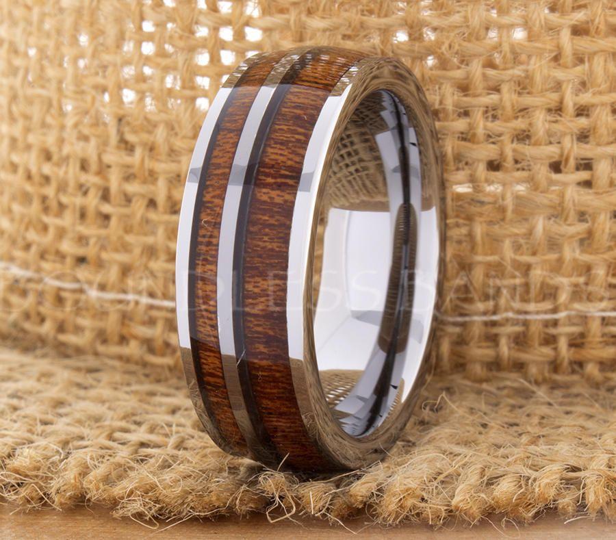 Hawaiian Koa Wood Inlay Ring Tungsten Ring Wedding Band