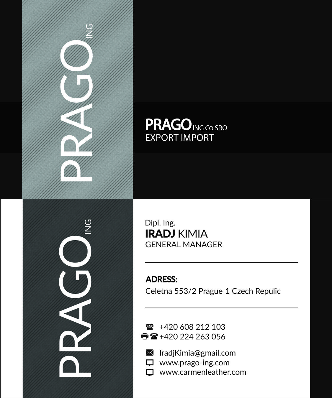 PRAGO Business Card, Front and Back page