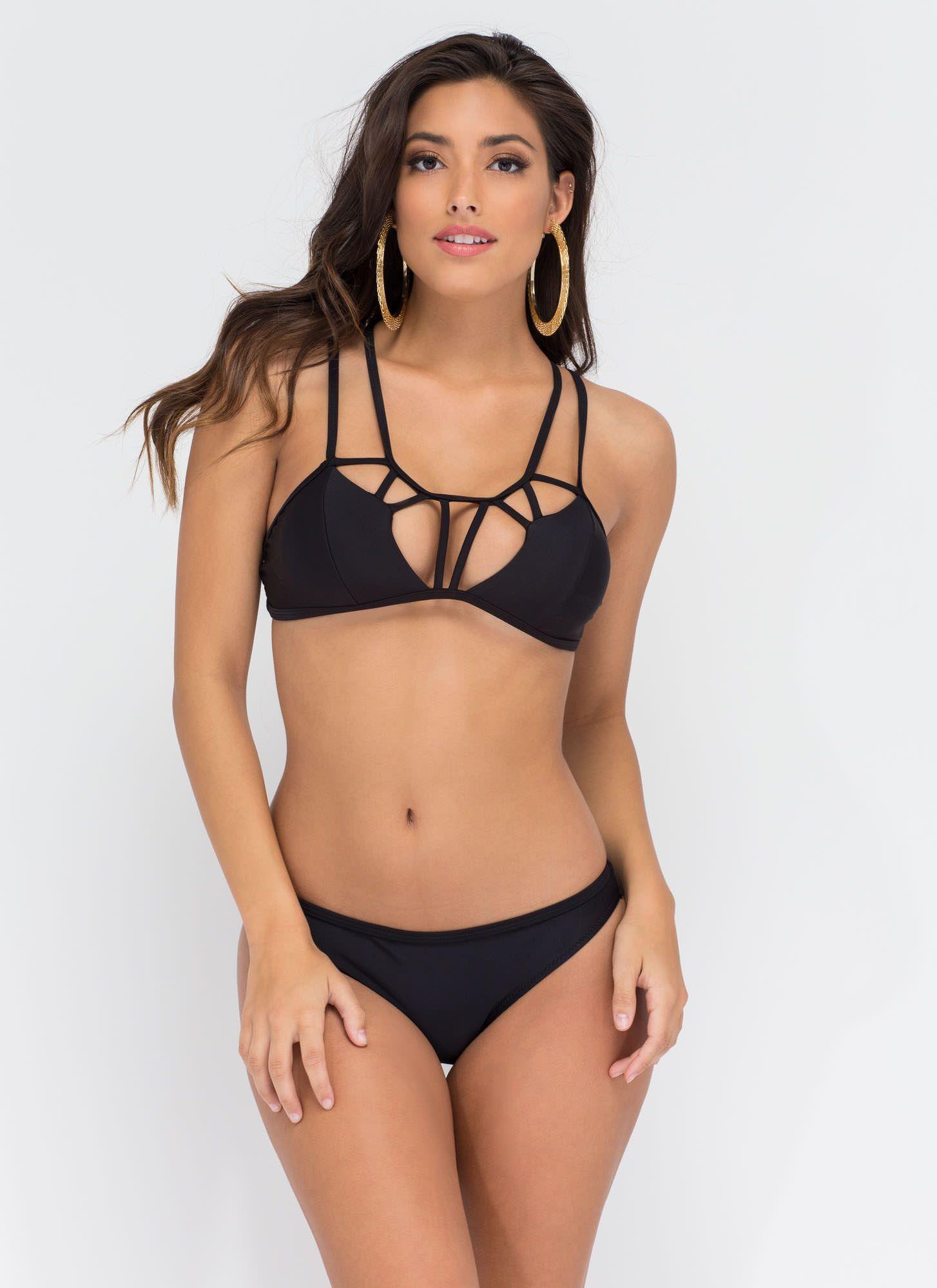 fb544db2df5 Crossed Off Strappy Caged Bikini Set   Babes - # ⚀