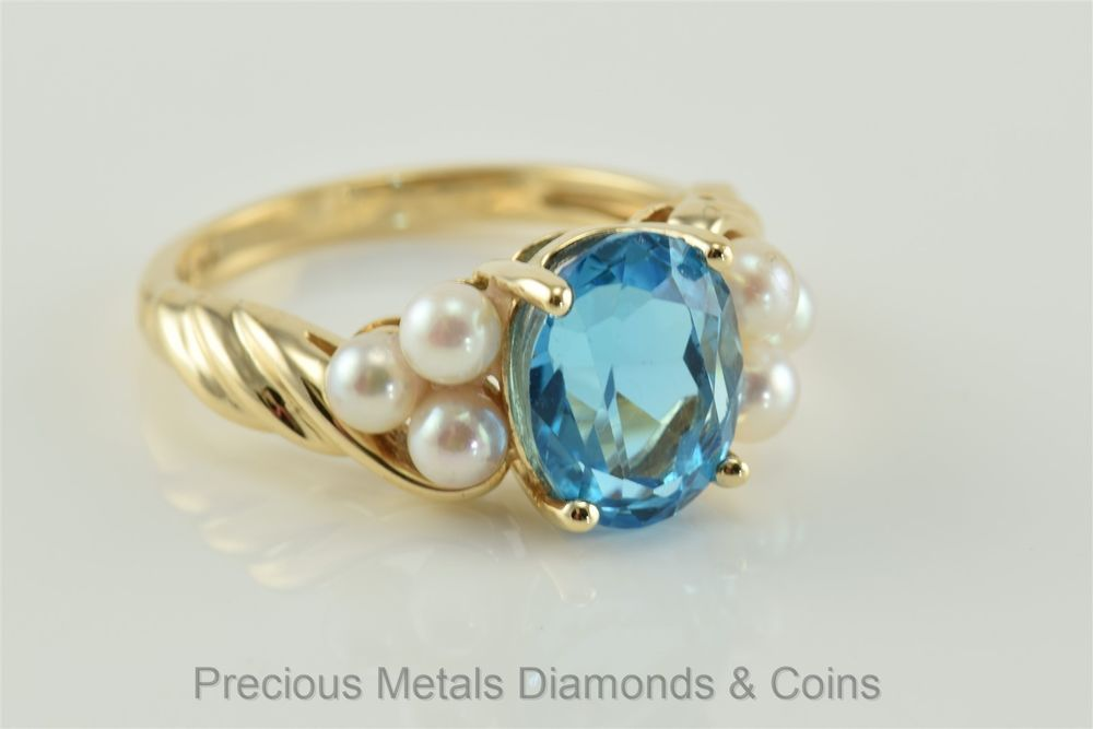 14k Yellow Gold 3ct Blue Topaz Solitaire Pearl Accented Twisted Band Ring  Sz  7 (eBay Link) 096203bef58