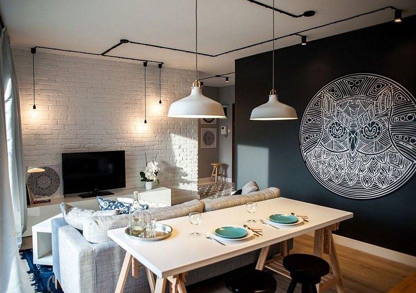 schwarze wände für moderne farbgestaltung kleiner wohn esszimmer - esszimmer modern weis grau