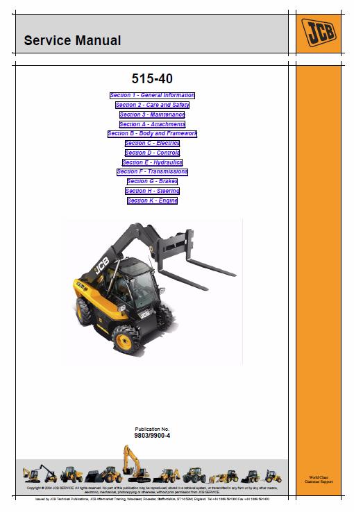 Jcb 514 40 Loadall Telescopic Handlers Service Manual Manual Repair Manuals Telescope