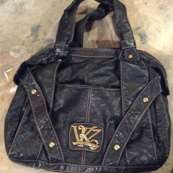 "Kathy Van Zeeland Hand Bag Great condition. Black vintage looking leather. Hardly used.  Strap drop 8.5"" Kathy Van Zeeland Bags"