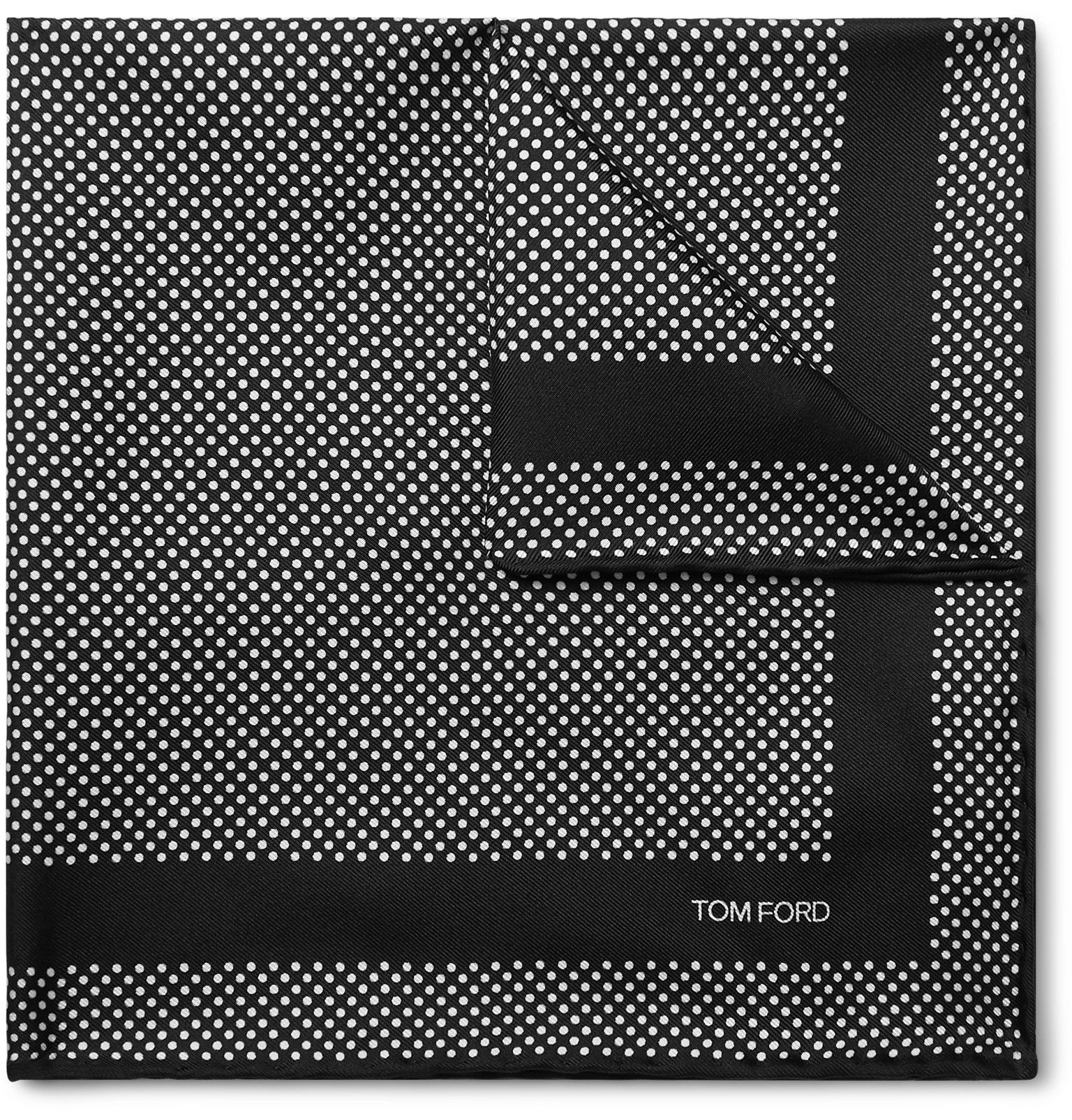 Black Polka-Dot Silk-Twill Pocket Square | TOM FORD -  TOM FORD – Polka-Dot Silk-Twill Pocket Squ