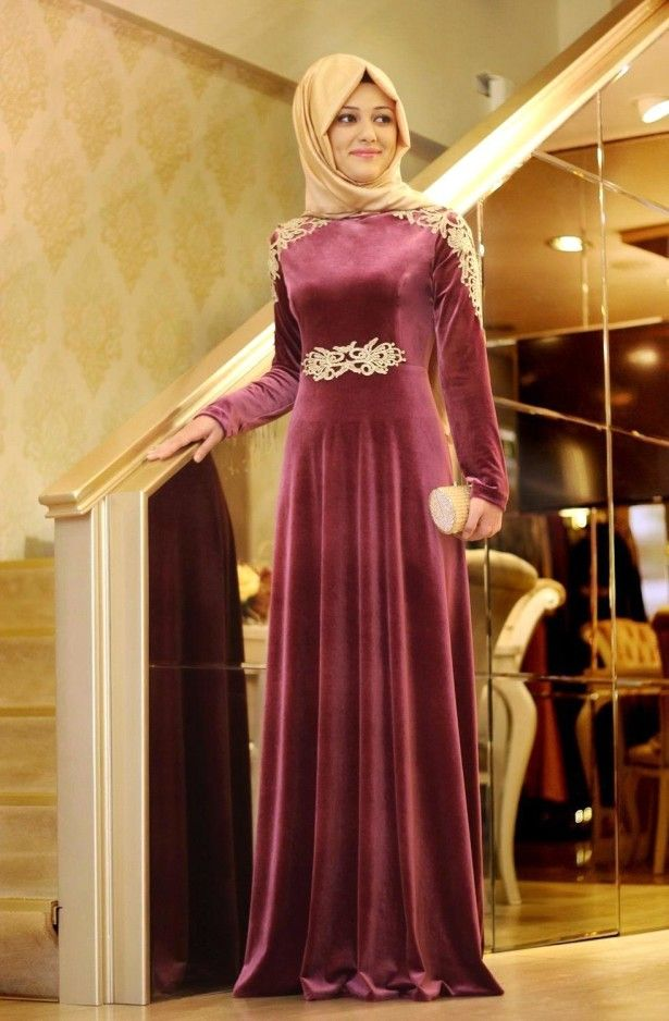 Fashion Trends, Satin Dress Muslimah Comined With Artistic Golden ...