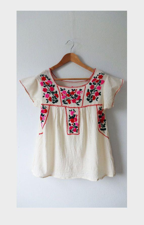 Mexicana mano bordada blusa oaxaqueña tapa campesina por BeStyleTH 3012d310eac