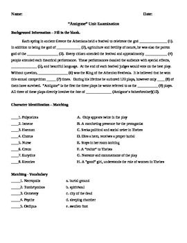 English Essay On Terrorism Antigone Test  Unit Exam With Answer Key This Test Covers Greek Theater  Author Greek Burial Traditions Oedipus Sphinx Riddle Aristotles Tragic  Hero  Essay With Thesis Statement also Synthesis Essay Ideas Antigone Test  Unit Exam With Answer Key   Ela  High School  Essay On Business